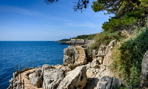 Beatiful  coastal path on the Cap d'Antibes, France.