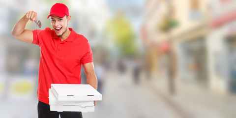 Pizza boy delivery latin man order delivering cutter banner deliver box young town copyspace copy space