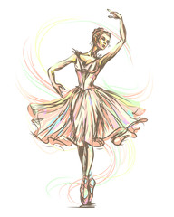 Graceful, beautiful dancing ballerina in gentle tones
