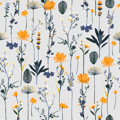 Seamless pattern vertical repeat in vector Soft and gentle botanical blooming garden flowers design