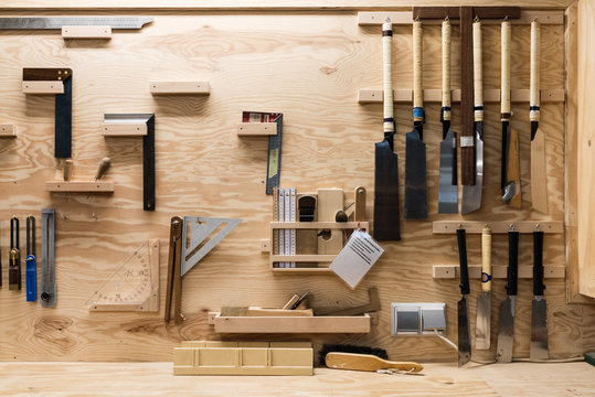 Set of professional tools for carpentry
