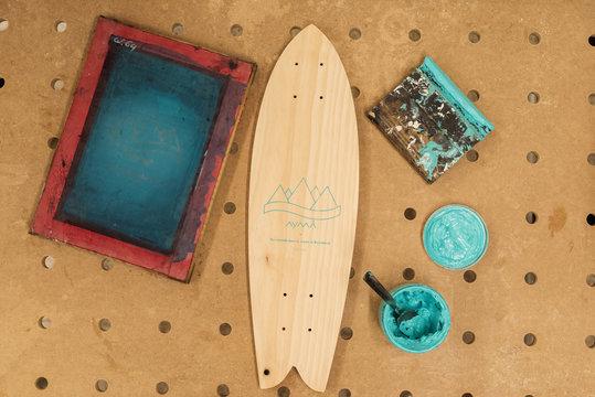 Skateboard deck with logotype