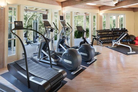 Gym at luxury resort