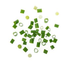 Fototapeta chopped green onions on white obraz