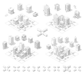 City isometric set. Cityscape infrastructure quarter. Town houses and streets with cars. Urban low poly. Gray lines outline contour style.