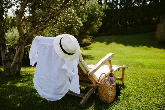 Deckchair under an olive tree in an Italian garden