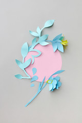 Handcraft flowers paper origami from colored paper with round fr