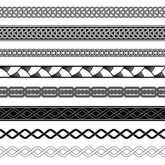 Set of seamless Celtic knotting borders. Black and white ribbon ornaments. Pattern brushes included in EPS file.