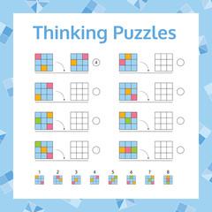 Thinking Puzzles Educational Game Set.  Logical Thinking Skills Game. Vector illustration.