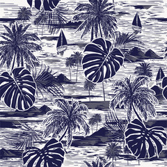 Monotone vector hand drawn on navy blue seamless island pattern on white background.