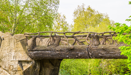 Foto auf Leinwand Fantasie-Landschaft beautiful hand crafted wooden bridge made out of tree trunks and branches, fairytale scenery, garden architecture, nature background
