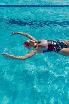 Woman swimmer floating