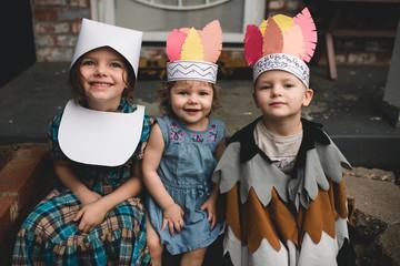 A family celebrates thanksgiving