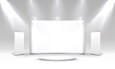 Scene show Podium for presentations on the grey background.