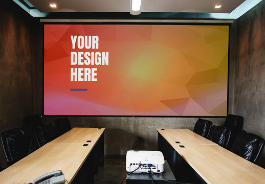 Projector Screen Mockup in a Meeting Room
