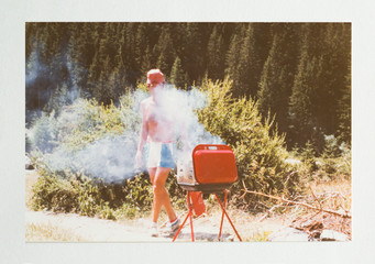 Man in the seventies doing a barbecue