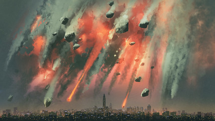 Aluminium Prints Grandfailure sci-fi scene of the meteorites explodes in the sky above the city, digital art style, illustration painting