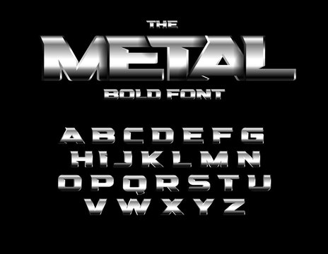 Brutal metallic style font. Set of metal bold letters with chrome and steel effect. Vector alphabet design.