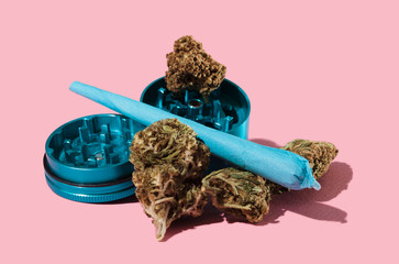 Buds Grinder and Joint on Pink