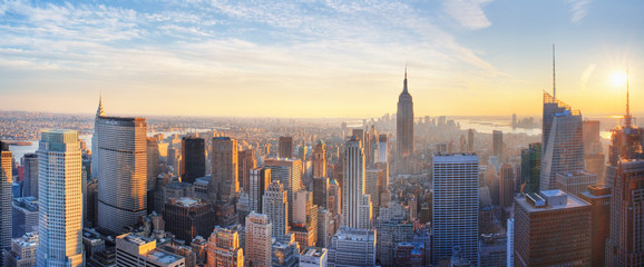 Printed kitchen splashbacks New York Panoramic view of Empire State Building and Manhatten at sunset. New York city. New York. USA