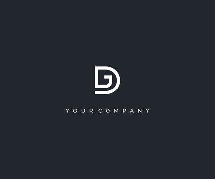 DG D G letter minimalist logo design template