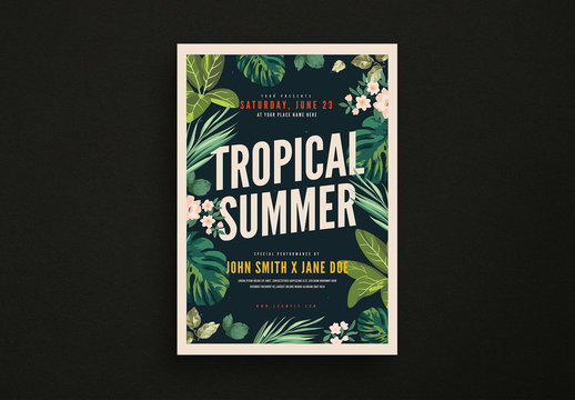 Tropical Summer Party Flyer Layout