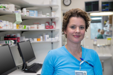 A nurs in a medication room
