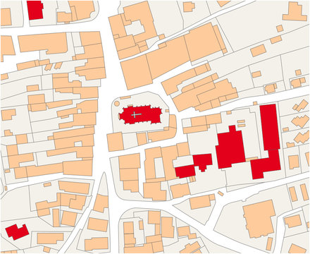 Imaginary cadastral map of an area with buildings and streets 3