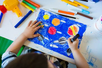 Kid Drawing and Coloring Solar System