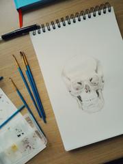 Skull watercolor in progress