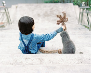Cute and beautiful Asian children interacting with cats and outdoor stairs in the park.shot by 120 film
