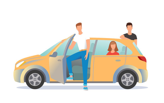 Car sharing illustration. Young people are ready to move off.