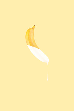 Banana Dripping with Paint