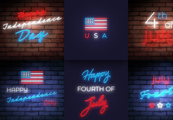 Fourth of July Neon Lights Social Media Post Layout Set