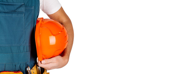 worker with orange helmet in hands isolated on white background.