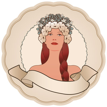 Circular retro label with pretty girl decorated with flowers and empty text banner. Vintage style