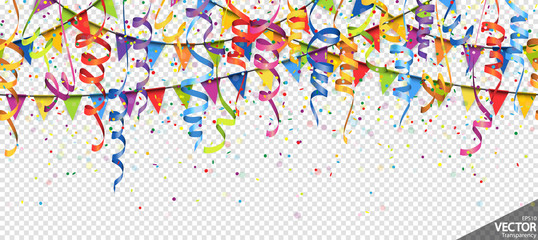 Obraz confetti, garlands and streamers party background - fototapety do salonu