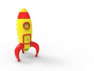 3D rendering of cartoon toy rocket ioslated on white background