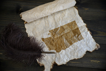 map of washington state on vintage paper with old pen on the wooden texture desk