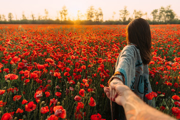 Man follows a woman in poppy meadow at sunset.