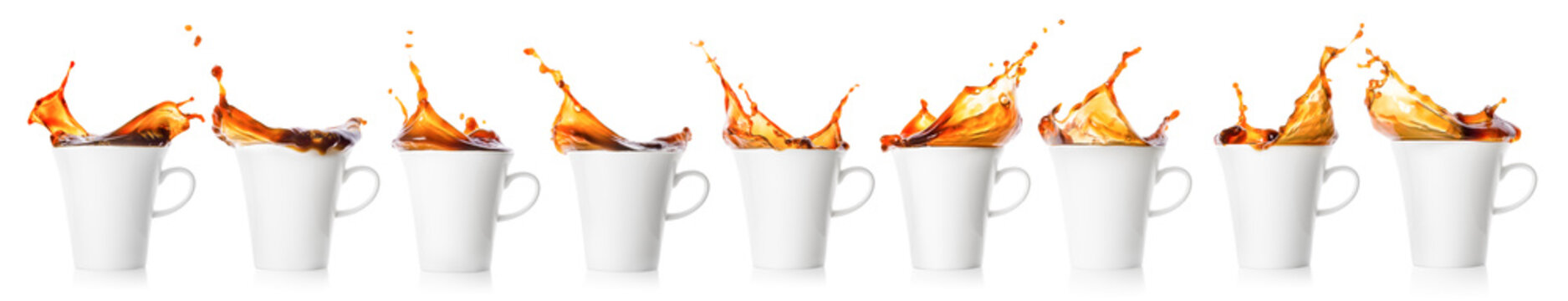 Coffee splash in white cup