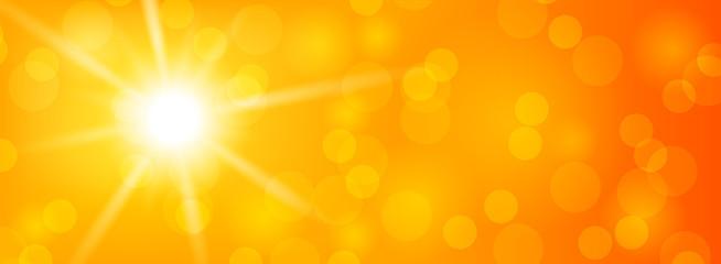 Sommer Sonne Vektor Hintergrund mit Sonnenstrahlen und Bokeh
