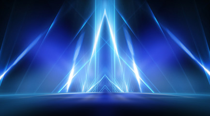 Empty stage, blue neon, abstract blue background. Rays of searchlights, light, abstract tunnel,...