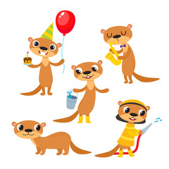 Vector set of cartoon animal - otter isolated on white