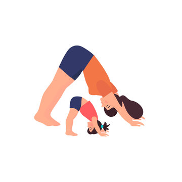 Young woman with daughter  is stretching and making sports. Vector illustration in flat style
