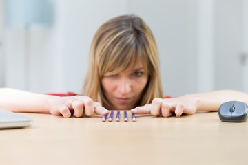 Woman suffering from symmetry and orderliness ocd
