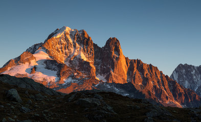 Fotomurales - Last sunlight on the mountain peak Les Drus near Chamonix, France.