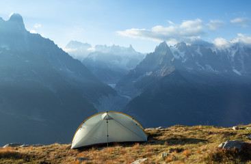 Tent in the mountains near Chamonix, France.