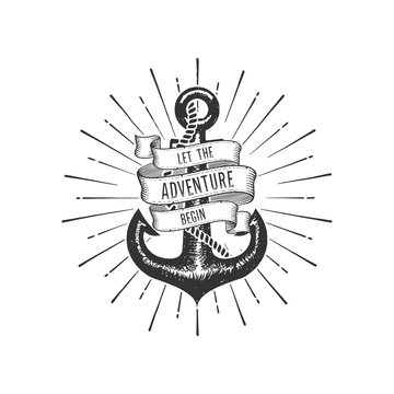 Let the Adventure begin with Anchor Vector illustration