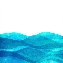 Watercolor transparent wave sea ocean teal turquoise colored background. Watercolour hand painted waves illustration